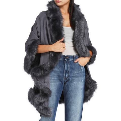 JayLey Collection Light Grey Faux Fur Jacket