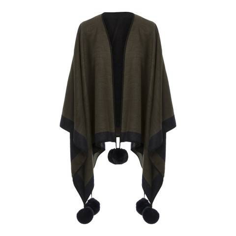 JayLey Collection Khaki Cashmere Blend Faux Fur Pom Pom Wrap