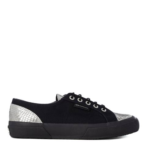 Superga Womens Navy/Metallic Silver Snake Canvas Trainers