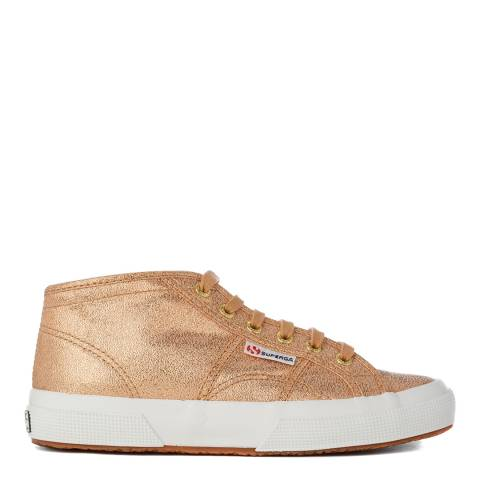 Superga Womens Gold Metallic Canvas Mid Trainers