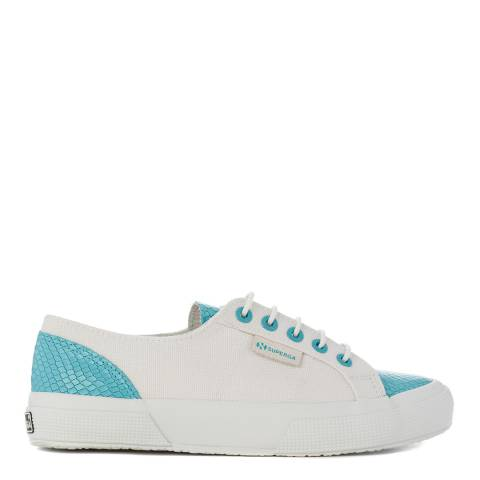Superga Womens White/Metallic Blue Snake Canvas Fashion Trainers