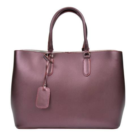Anna Luchini Wine Red Leather Tote Bag