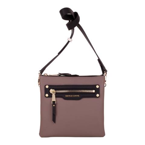 Smith & Canova Taupe Zip Top Front Pocket Detail Cross Body Bag