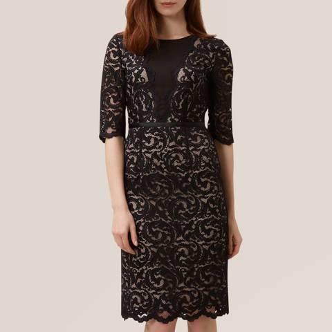 Hobbs London Black/Beige Rafaela Dress