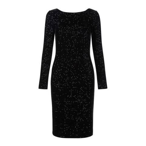 Hobbs London Black Sawyer Sequin Velvet Dress