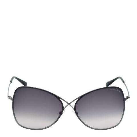 Tom Ford Women's Colette Shiny Gunmetal Mirror Sunglasses 63mm