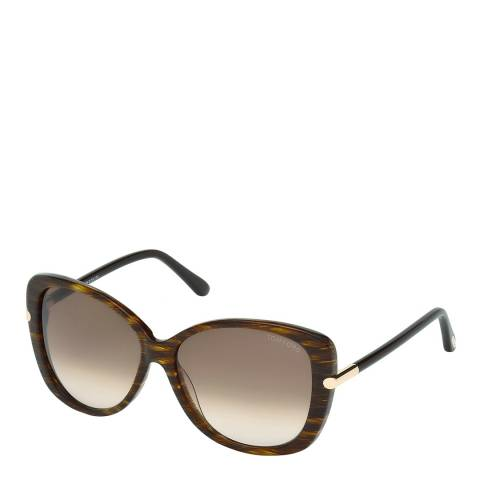 Tom Ford Women's Linda Dark Brown/Graduated Brown Sunglasses 59mm