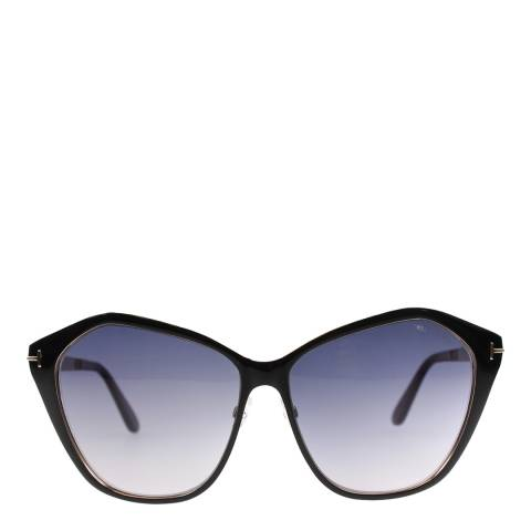Tom Ford Women's Lena Black with Gold Interior/Grey Gradient Sunglasses 58mm