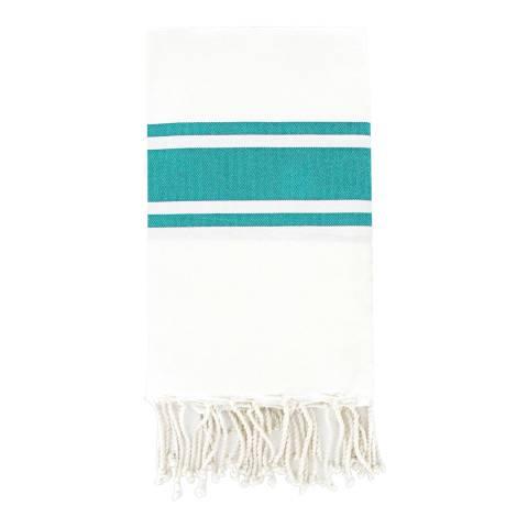 Febronie St Tropez Hammam Towel, White/Turquoise