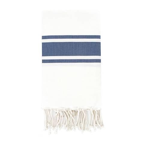 Febronie St Tropez Hammam Towel, White/Denim