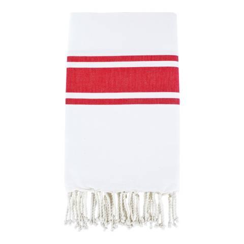 Febronie St Tropez Hammam Towel, White/Red
