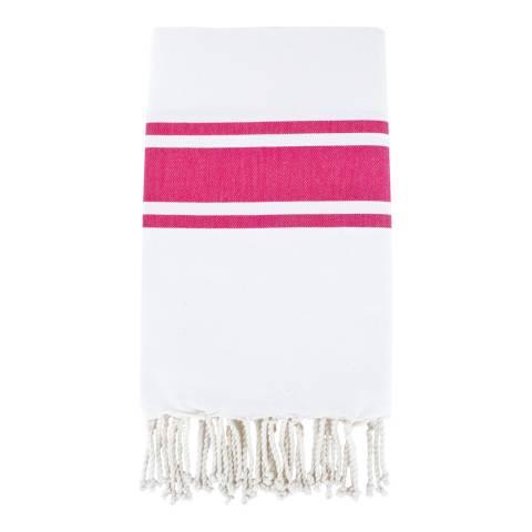 Febronie St Tropez Hammam Towel, White/Fuchsia