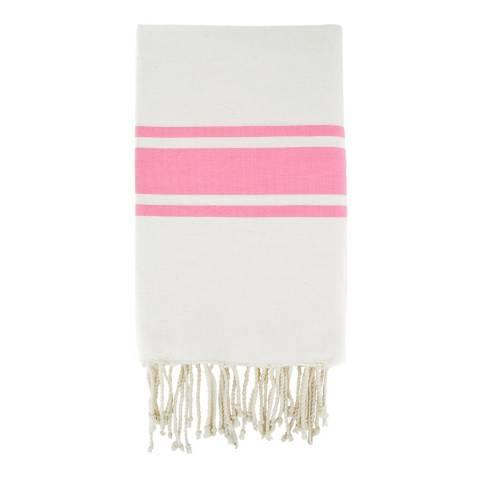 Febronie St Tropez Hammam Towel, White/Pink