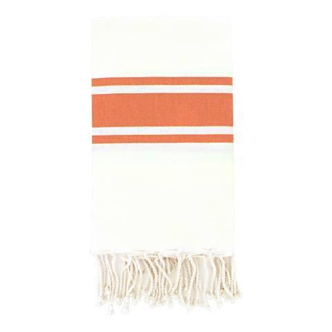 Febronie St Tropez Hammam Towel, White/Coral
