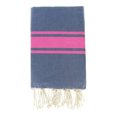 Febronie St Tropez Hammam Towel, Denim/Fuchsia
