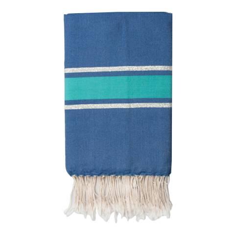 Febronie St Tropez Lurex Hammam Towel, Silver/Blue