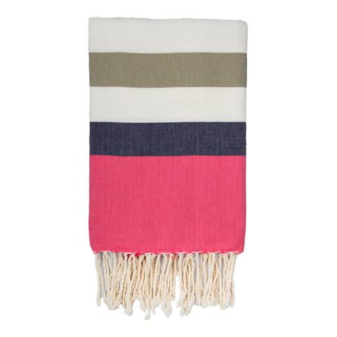 Febronie Arachon Hammam Towel, Light Taupe/Blue/Pink