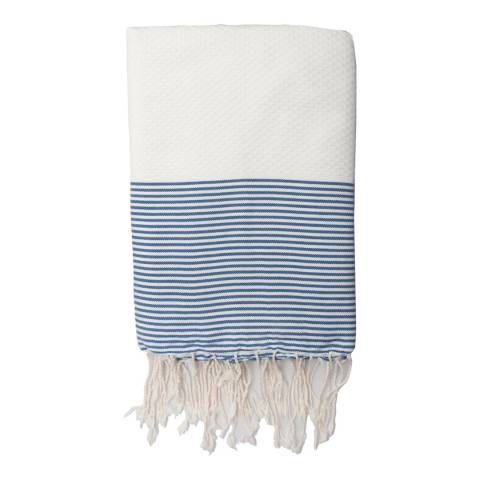 Febronie Ibiza Hammam Towel, White/Greek Blue