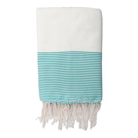 Febronie Ibiza Hammam Towel, White/Aqua