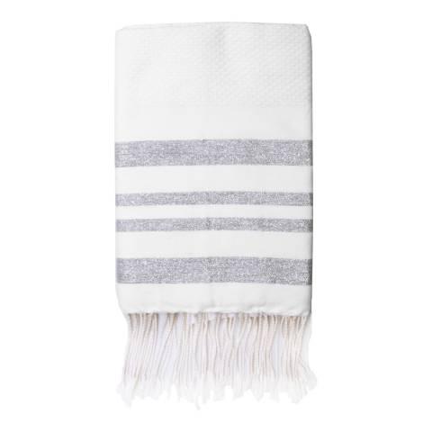 Febronie Hamptons Lurex Hammam Towel, Silver/White