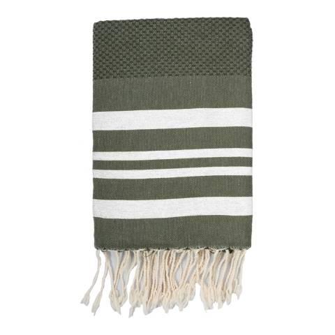 Febronie Hamptons Lurex Hammam Towel, Khaki/Silver