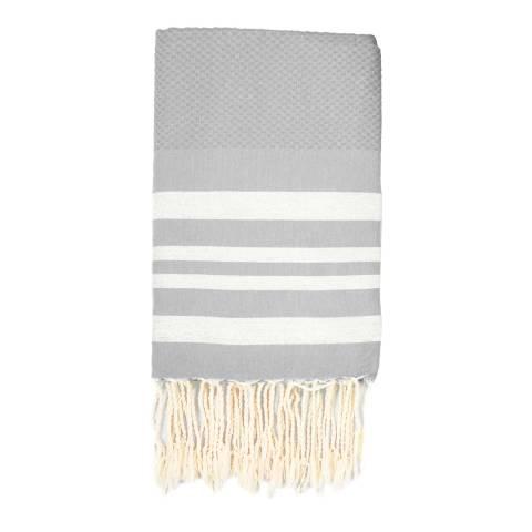 Febronie Hamptons Lurex Hammam Towel, Silver/Grey