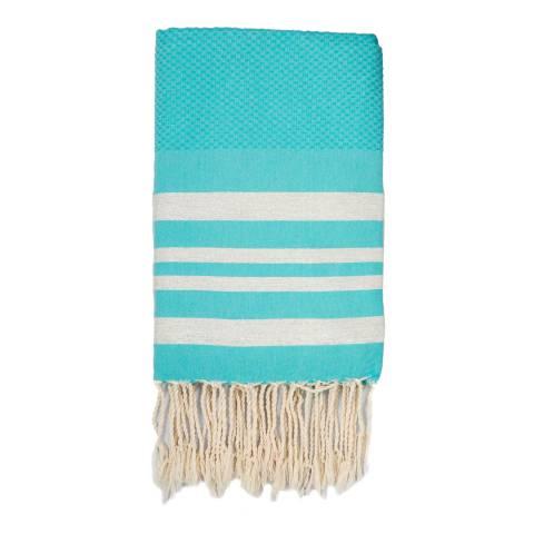 Febronie Hamptons Lurex Hammam Towel, Silver/Turquoise