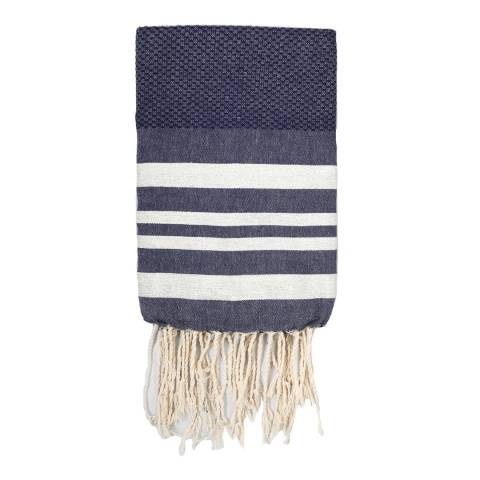 Febronie Hamptons Lurex Hammam Towel, Silver/Denim