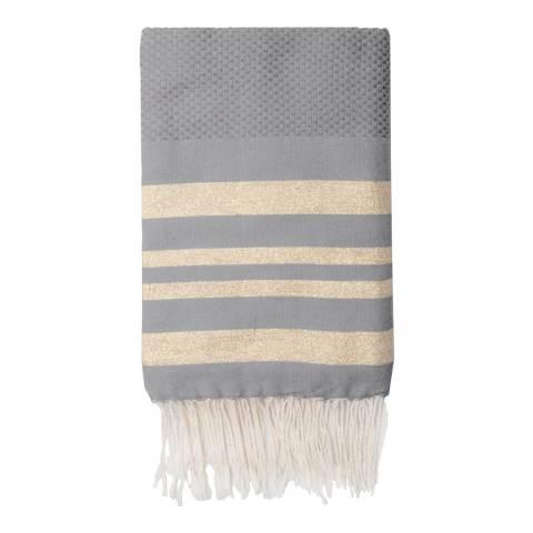 Febronie Hamptons Lurex Hammam Towel, Gold/Taupe