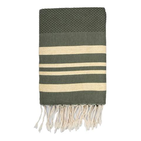 Febronie Hamptons Lurex Hammam Towel, Khaki/Gold