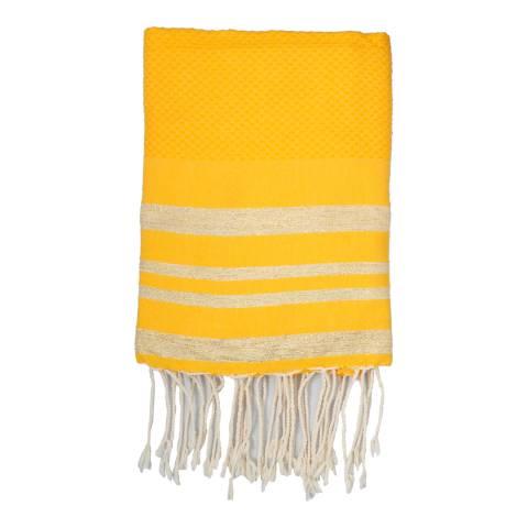 Febronie Hamptons Lurex Hammam Towel, Gold/Saffron