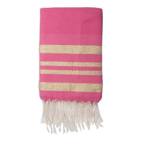 Febronie Hamptons Lurex Hammam Towel, Gold/Fuchsia