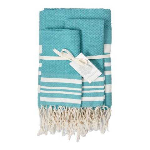 Febronie Hamptons Set of 3 Hammam Towels, Duck Egg