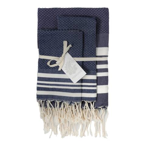 Febronie Hamptons Set of 3 Hammam Towels, Denim