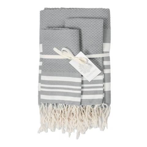 Febronie Hamptons Set of 3 Hammam Towels, Pearl