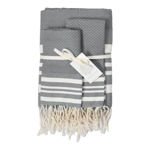 Febronie Hamptons Set of 3 Hammam Towels, Grey