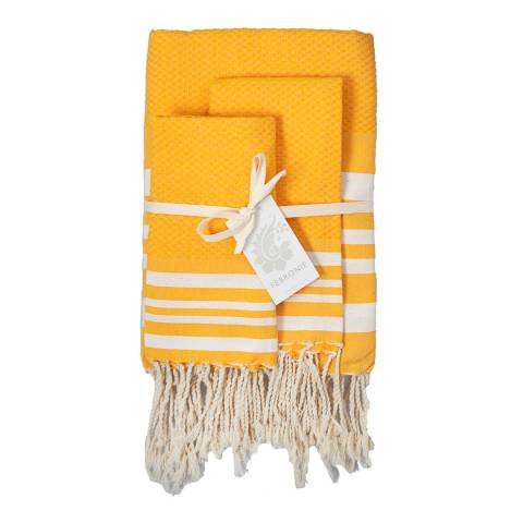 Febronie Hamptons Set of Three Hammam Towels, Saffron
