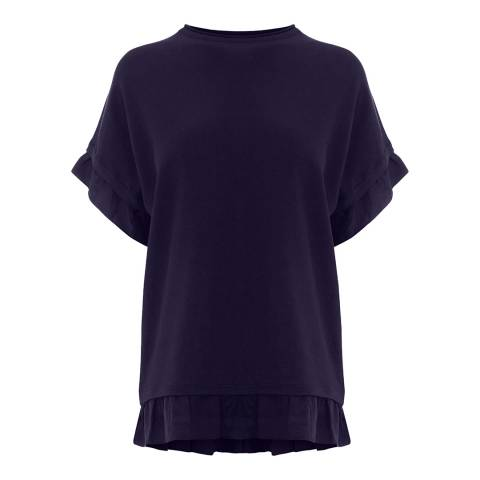 Warehouse Navy Woven Hem Knitted Top