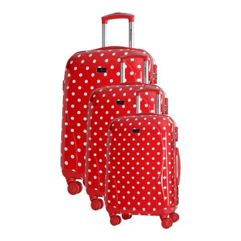 Platinium Red Phuket Set Of Three 8 Wheel Suitcases 50/60/70cm