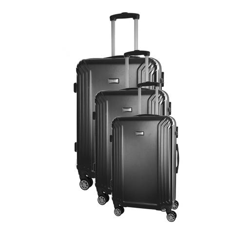 Platinium Black Set Of Three Kiree 8 Wheel Suitcases 46/56/66cm