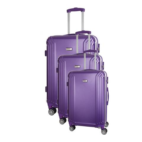 Platinium Violet Set Of Three Kiree 8 Wheel Suitcases 46/56/66cm