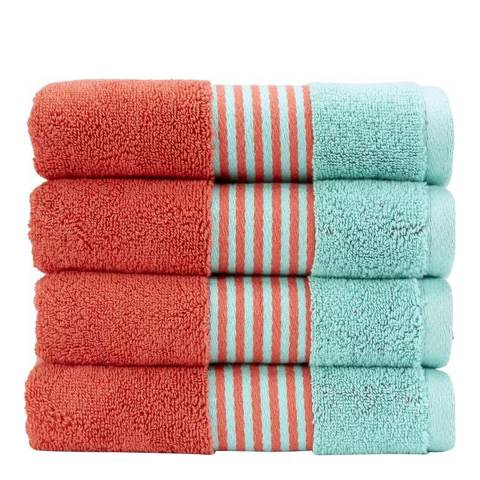 Kingsley by Christy Coral/Mint Duo Hand Towel