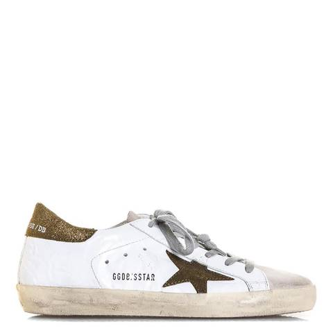 Golden Goose Women's Bronze/White Leather Super Star Sneakers