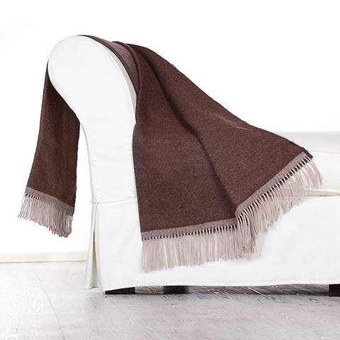 Lanerossi Brown Colosseo Cashmere/Wool Blend Throw 130x170cm