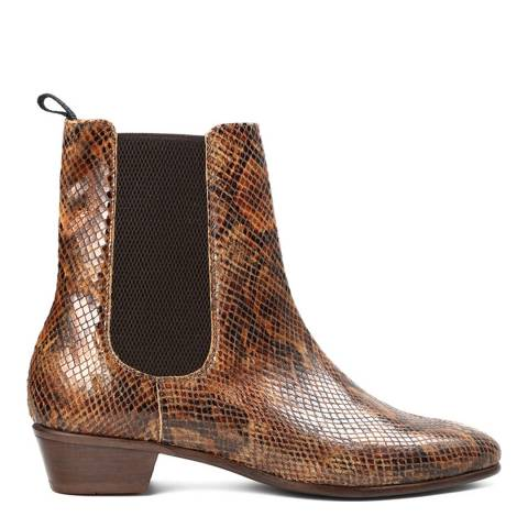 Hudson Tan Snake Leather Kenny Boots