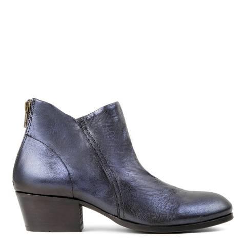 Hudson Navy Metallic Leather Apisi Boots