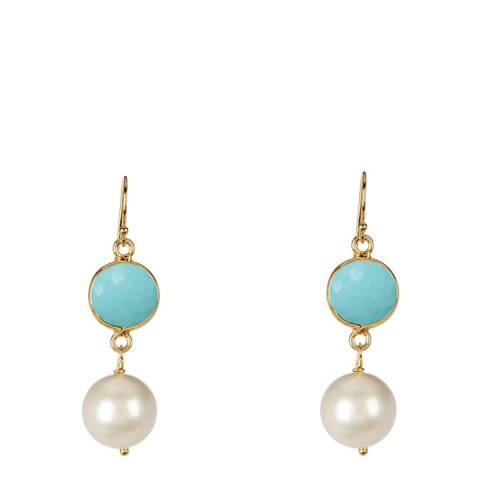 White label by Liv Oliver Turquoise and Pearl Drop Earrings