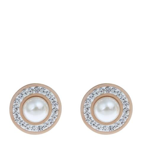 White label by Liv Oliver Rose Gold and Pearl Crystal Earrings
