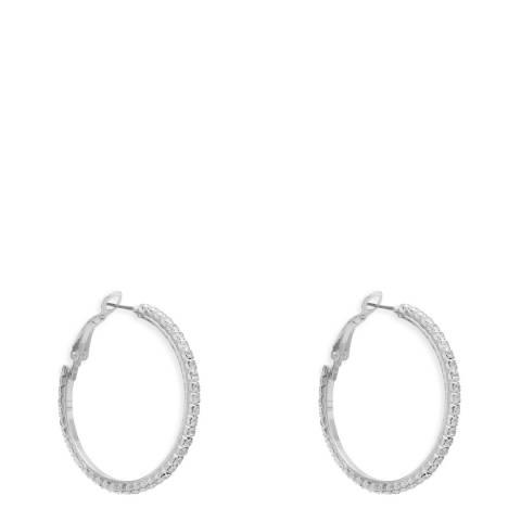 Black Label by Liv Oliver Silver Crystal Hoop Earrings