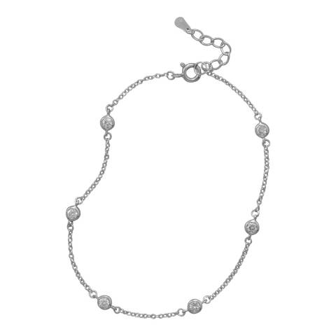 Black Label by Liv Oliver Sterling Silver Cubic Zirconia Anklet
